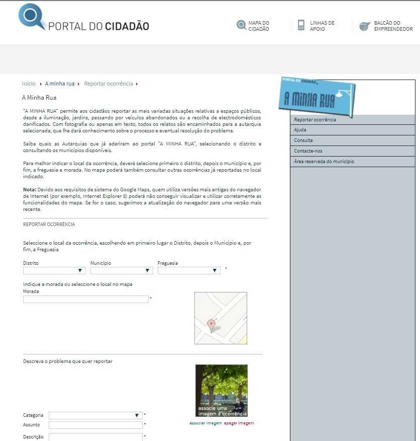 Aplicação - A minha rua - Oliveira Hospital