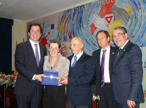 O secretário de Estado, João Paulo Rebelo, com Rota Mota (homenageada), Fausto Carvalho, Américo Santos e Manuel Machado